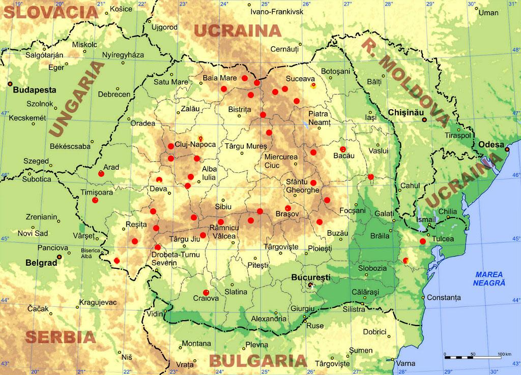 Mapa de las montañas de los Cárpatos en Rumanía