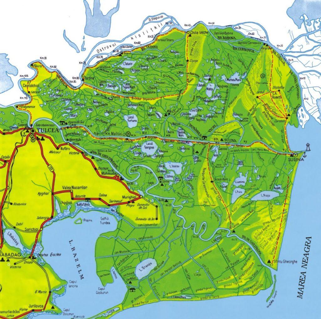 Mapa del Delta del Danubio en Rumanía
