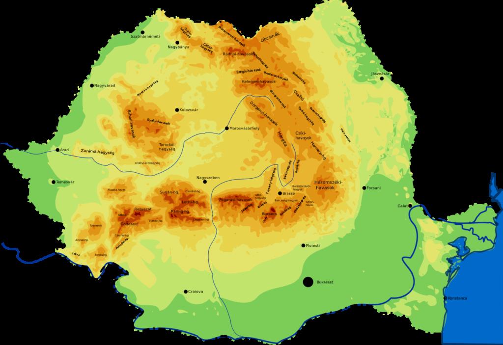 Mapa geográfico de Rumanía