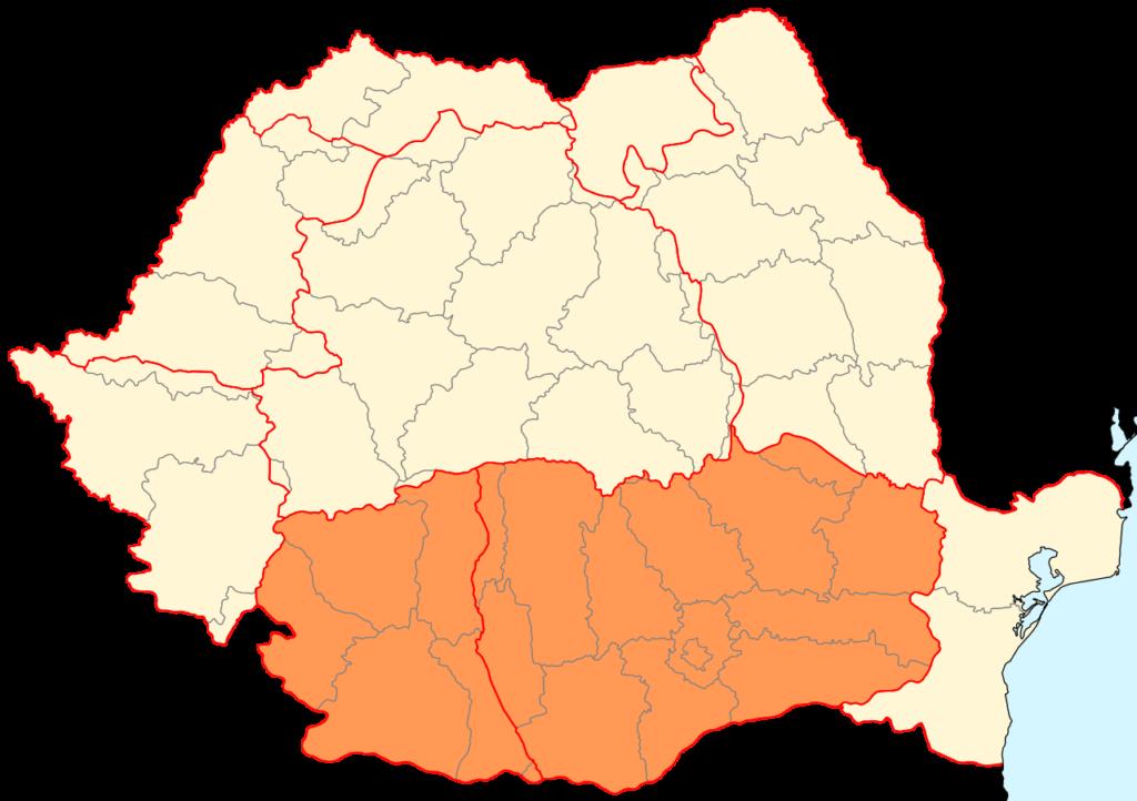 Mapa de Valaquia en Rumanía